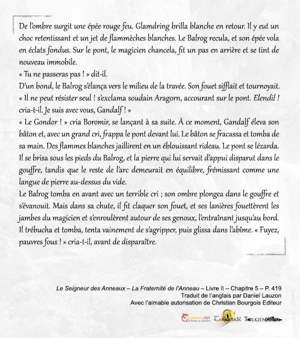 Extrait p.419 Gandalf VS Balrog